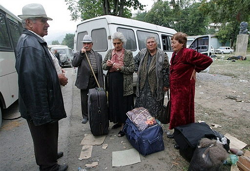 South Osetian refugees prepare for departure to the North Ossetia