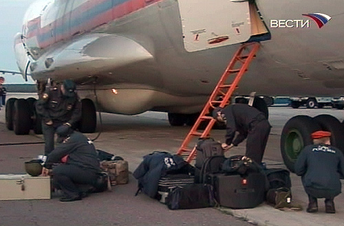 Russian cargo plane with the humanitarian help for the South Ossetia is loaded up in Moscow