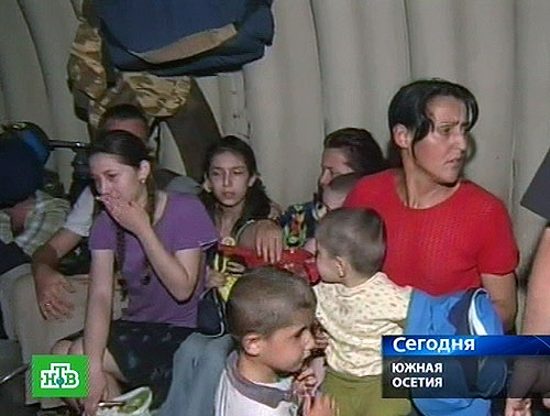 South-Osetian refugees in the peacemakers bomb shelter