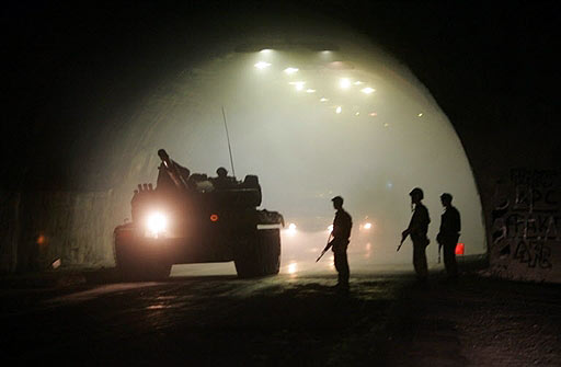 The Russian tanks in the tunnel on border with South Ossetia