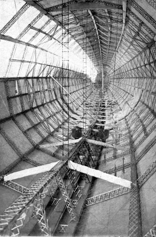 Interior of a Zeppelin, showing the hexagonal rinds and longitudinal tie-girders