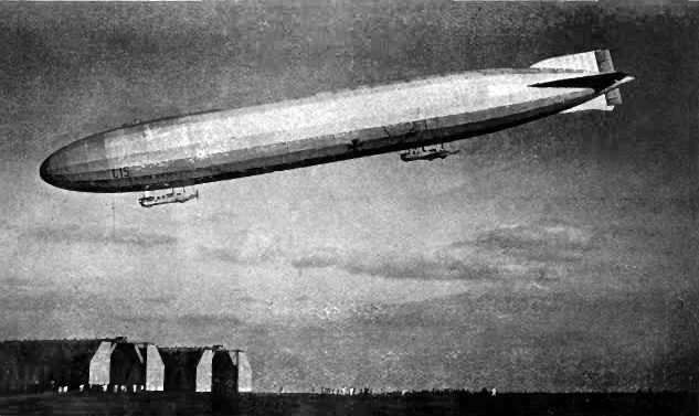 Naval airship, L. 15, about to land. The pilot's gondola is in front, and the machine-gun platform can be seen on top of the envelope