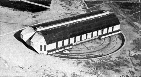 The revolving sheds at Nordholz, showing how the ends were lengthened