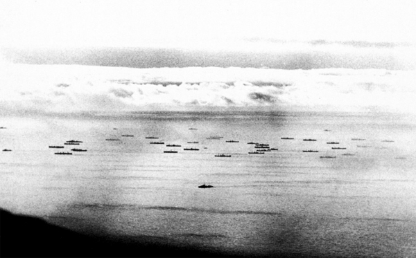 Arctic convoy PQ-17, photographed from the German reconnaisance plane, July 1942