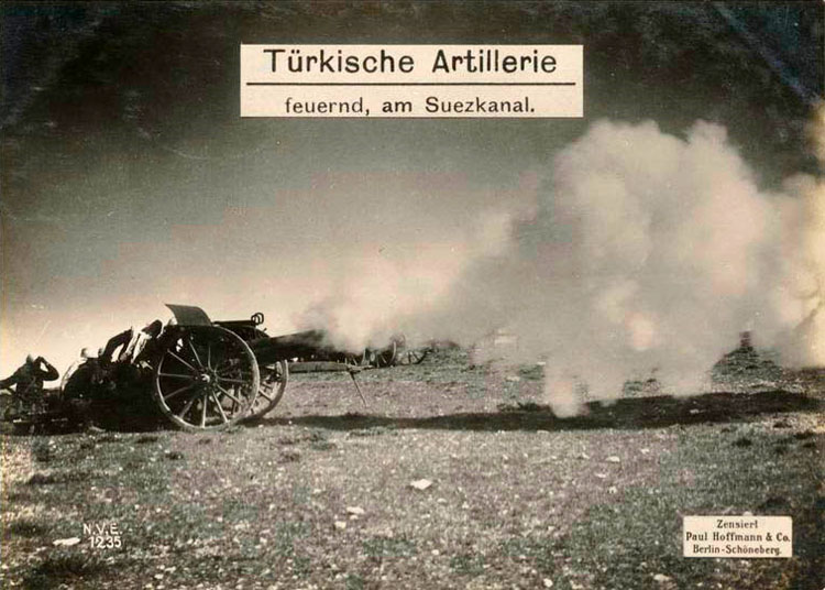 Turkish artillery firing on the Suez Canal.