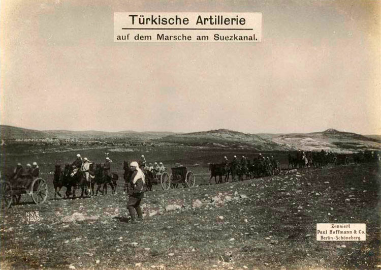 Turkish artillery on the move to Suez Canal.