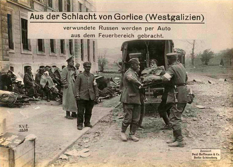 Battle of Gorlice (Western Galicia) wounded Russians are evacuated by car from the battlefield.