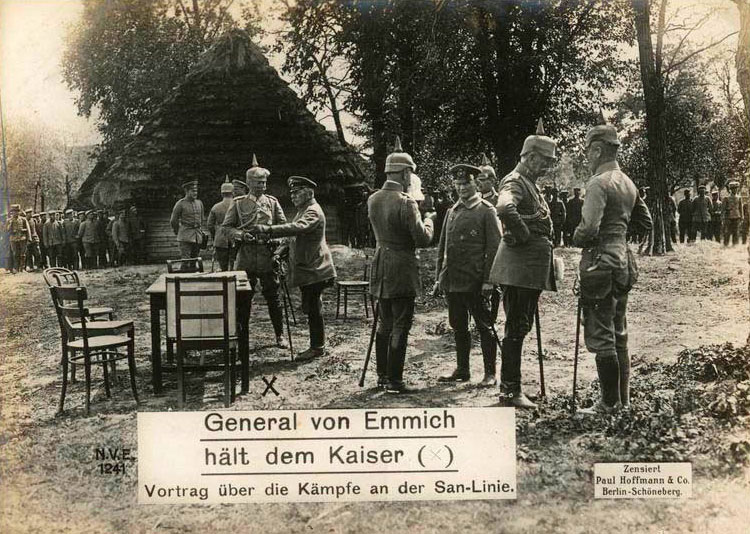 General von Emmich meets with the Kaiser: discussion the battles on the San line.
