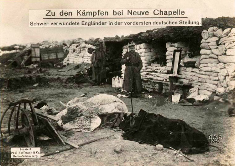 Battle for Neuve Chapelle: heavily wounded Englishmen on the German forward position.