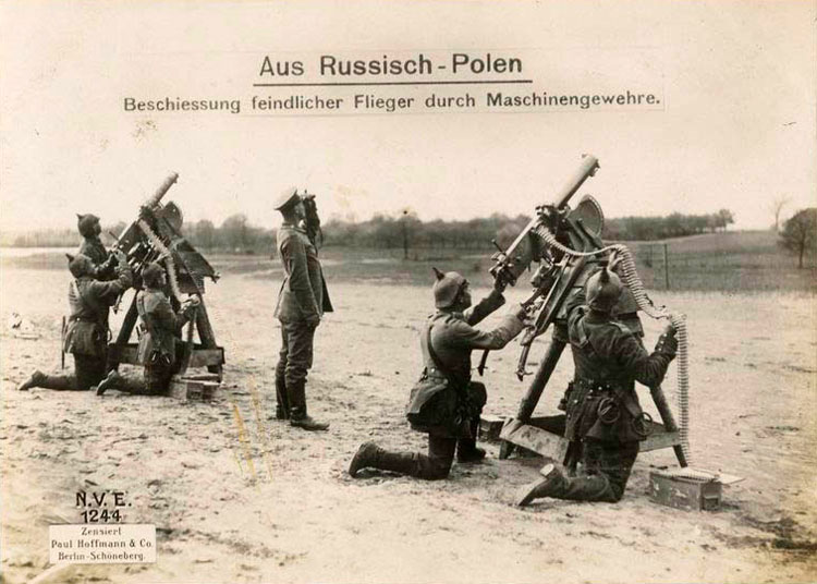 Russian Poland: machine guns firing on the enemy's aircraft.