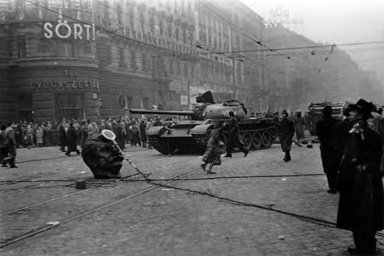 Budapest Downtown with a Soviet Tank and the Head of the Previously Toppled Stalin Statue